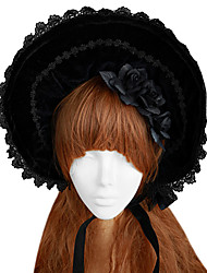 cheap -Lolita Bonnet Gothic Lolita Dress Lolita Lolita Women's Black Lolita Accessories Lace Cap Hat Velvet