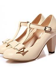 abordables -Femme Chaussures Polyuréthane Printemps / Automne Nouveauté / Confort Chaussures à Talons Bout rond Noeud / Boucle pour Bureau et