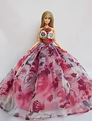 Festa/Noite Vestidos Para Boneca Barbie Rosa Violeta Vestidos Para Menina de Boneca de Brinquedo