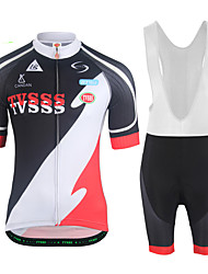 cheap -Men's Short Sleeves Cycling Jersey with Bib Tights - White Black Bike Clothing Suits