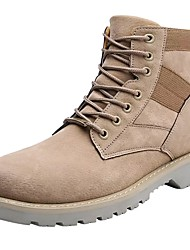 cheap -Men's Shoes Leather Spring Fall Combat Boots Boots Lace-up For Work & Safety Khaki Almond Black