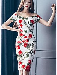 cheap -Women's Going out Club Vintage Sexy Bodycon Dress,Floral V Neck Above Knee Short Sleeves Cotton Summer Mid Rise Micro-elastic Opaque