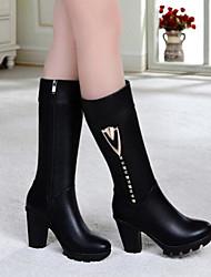 """cheap -Women's Shoes Nappa Leather Winter Slouch Boots Boots Chunky Heel 10""""-12""""(Approx.25.4cm-30.48cm) Thigh-high Boots for Casual Black"""