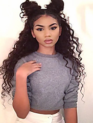 cheap -Women Human Hair Lace Wig Brazilian Human Hair Full Lace 130% Density Layered Haircut With Baby Hair Curly Wig Black Medium Brown Dark