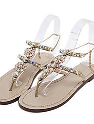 preiswerte -Damen Schuhe PU Sommer / Herbst Komfort / Neuheit Sandalen Flacher Absatz Offene Spitze Kristall / Niete / Glitter Gold / Weiß / Hochzeit