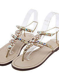 Womens Shoes PU Summer Fall Comfort Novelty Sandals Flat Heel Open Toe Crystal Rivet Sparkling Glitter For Wedding Party Evening White