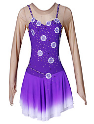 Ice Skating Dress Women's Long Sleeves Skating Skirt Dress High Elasticity Figure Skating Dress Thermal / Warm Breathable Handmade