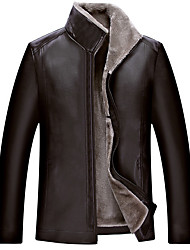 Men's Plus Size Casual/Daily Simple Winter Leather Jacket,Solid Stand Long Sleeve Regular PU