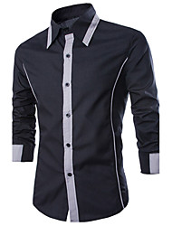 cheap -Men's Casual Cotton Slim Shirt - Color Block Black & Gray