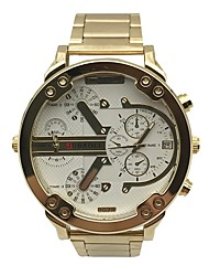cheap -JUBAOLI Men's Sport Watch Chinese Calendar / date / day / Dual Time Zones / Cool Metal Band Casual / Fashion / Unique Creative Watch Gold / Large Dial