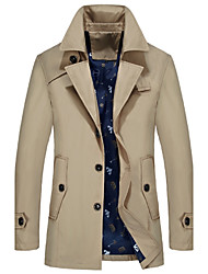 cheap -Men's Simple Casual Long Plus Size Trench Coat-Solid Colored Shirt Collar