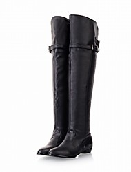 cheap -Women's Shoes Leatherette Spring Winter Fashion Boots Boots Chunky Heel Round Toe Over The Knee Boots Buckle For Wedding Office & Career