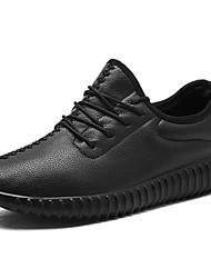 preiswerte -Damen Schuhe Nappaleder Frühling Herbst Komfort Sportschuhe Flacher Absatz Runde Zehe Schnürsenkel Für Weiß Schwarz Rot