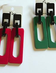baratos -Mulheres Brincos Curtos / Brincos Compridos - Fashion / Estilo simples Vermelho / Verde Retângular Brincos Para Casual / Para Noite