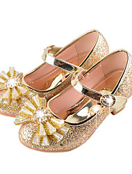 cheap -Girls' Shoes Sparkling Glitter Spring Fall Novelty Comfort Flats Rhinestone Bowknot for Wedding Dress Gold Silver Pink