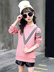 cheap -Girls' Striped Blouse,Rayon Winter Fall Long Sleeve Stripes Brown Blushing Pink Gray