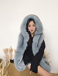 cheap -Women's Faux Fur Fur Coat - Solid Colored