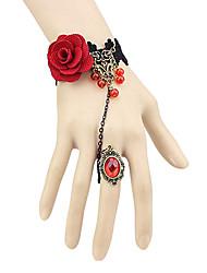Jóias Gótica Anél Inspiração Vintage Vermelho Acessórios Lolita Bracelete Anél Rendas Para Tecido Não Tecido Jóias Artificiais