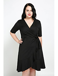 cheap -Cute Ann Women's Daily Plus Size Casual Sexy Street chic A Line Dress,Solid V Neck Knee-length Short Sleeves Cotton Polyester Fall All Seasons