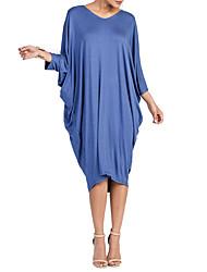 Недорогие -Для женщин На каждый день Большие размеры Футболка Платье Однотонный,V-образный вырез Средней длины Рукав 3/4 Полиэстер Весна Осень С