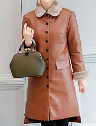 Women's Casual/Daily Simple Winter Fur Coat,Solid Shirt Collar Long Sleeve Long Lambskin