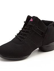 Недорогие -Для женщин Танцевальные кроссовки Тюль На плоской подошве Тренировочные Сторонняя полые из На плоской подошве Белый Черный Красный 3,5 см
