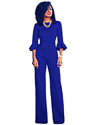Women's Daily Work Street chic Solid Round Neck Jumpsuits,Wide Leg ¾ Sleeve Spring Summer Fall Polyester