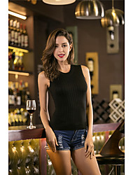 cheap -Women's Daily Going out Casual Short Vest,Solid Crew Neck Sleeveless Others Spring Summer Medium Micro-elastic