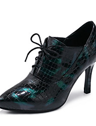 Women's Shoes Leatherette Fall Novelty Heels Stiletto Heel Pointed Toe Lace-up For Wedding Dress Wine Green Black