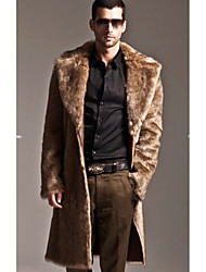 cheap -Men's Street chic Long Faux Fur Coat-Solid Colored