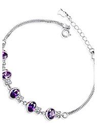 abordables -Femme Bracelet Zircon Argent sterling Zircon Forme Ovale Bijoux Pour Sortie