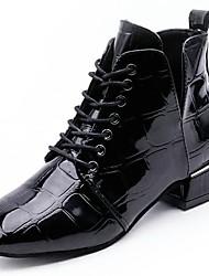 baratos -Mulheres Sapatos Couro Ecológico Outono Botas da Moda / Conforto Botas Ponta quadrada Elástico para Preto