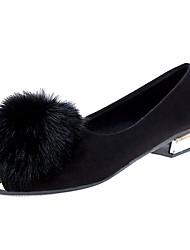 abordables -Femme Chaussures Polyuréthane Automne / Hiver Confort Ballerines Talon Plat Bout pointu Plume pour Noir / Gris / Vert