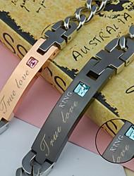 Недорогие -Персональный подарок Браслеты Стразы Титановая сталь Для пары Простой Геометрия Ар деко / Ретро Изысканный и современный Пара обуви Мода