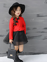 cheap -Girl's Daily Solid Dress,Cotton Polyester Winter Fall Long Sleeve Lace Red Blushing Pink