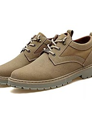 cheap -Men's Shoes PU Fall Winter Comfort Oxfords Lace-up For Casual Office & Career Light Brown Black