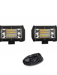 2PCS 72W 7200LM 6000K 3-Rows LED Work Light Cool White Flood Offroad Driving Light for Car/Boat/Headlight IP68 9-32V DC  3m 1-To-2 Wiring Harness Kit
