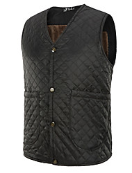 Men's Going out Casual/Daily Simple Vintage Chinoiserie Fall Winter Vest,Solid V Neck Sleeveless Regular Faux Fur Polyester Fur Trim