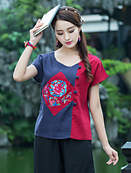 Women's Casual/Daily Chinoiserie T-shirt,Color Block Embroidery Round Neck Short Sleeves Cotton Linen
