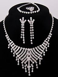 Жен. Свадьба Для вечеринок Серебрянное покрытие Ожерелья Серьги Кольца браслеты