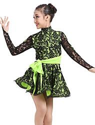 baratos -Devemos vestir-se de dança latina desempenho infantil padrão de spandex / impressão de vestidos de manga longa e alta