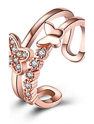 preiswerte -Damen Kubikzirkonia Kupfer / versilbert Schmetterling Bandring - Ohne Verschluss / Modisch Silber / Rotgold Ring Für Party / Büro &