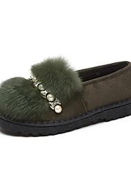 Femme Chaussures Daim Automne Moccasin Mocassins et Chaussons+D6148 Talon Plat Bout rond Perle Pour Décontracté Noir Vert Amande