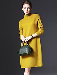 Feminino Solto Tricô Vestido,Para Noite Tamanhos Grandes Simples Moda de Rua Sólido Colarinho Chinês Altura dos Joelhos Manga Longa