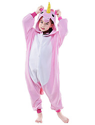 cheap -Kigurumi Pajamas Flying Horse Unicorn Onesie Pajamas Costume Polar Fleece White+Blue White+Pink Pink Blue Purple Cosplay For Kid Animal