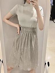 abordables -Mujer Simple Casual/Diario Verano T-Shirt Falda Trajes,Escote Redondo Un Color Manga Corta Microelástico