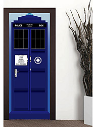 cheap -2pcs/setThe Police Box Door Stickers 3D PVC Self-adhesive Wallpaper Removable Waterproof Door Decoration Blue Police Office Door Mural 77*200cm