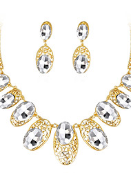 Women's Stud Earrings Necklace Crystal Rhinestone Fashion Luxury Crystal Rhinestone Oval Earrings Necklace For Wedding Party Wedding Gifts