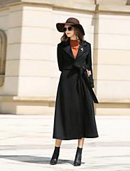 Cappotto Da donna Casual Ufficio Semplice Vintage Autunno Inverno,Tinta unita Bavero classico Cashmere Lana Poliestere Lungo Manica lunga
