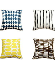 cheap -4 pcs Cotton Sofa Cushion Travel Pillow Bed Pillow Pillow Case Pillow Cover, Geometric Art Deco Artistic Style Classic Style Modern Style